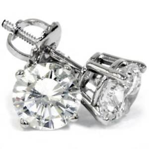 Platinum 2 Ct T.W Certified Diamond Studs With Screw Backs