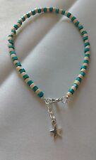 wooden bead anklet/ankle bracelet star  funky boho hippy beach summer fun