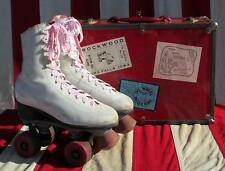 Vintage White Leather Womens Rollerskates Sz.6 w/Case Rink Sticker Collection#3