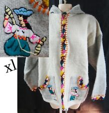 Mexican XL 2xl Handmade embroidered chunky weave hoodie crochet jacket hippie