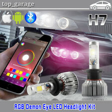 H7 2 in 1 60W LED Headlight Kit Hi/Low with RGB Demon Eyes Bluetooth APP Control