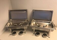 SET 2x Chafing Dish Speisewärmer  2 Behälter GN 1/1  2 Gestelle 4x Löffel