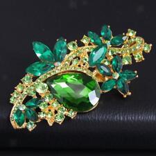 Broche de mariée à la mode nuptiale Broche de mariage en strass vert