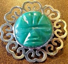 Sterling Silver  Jade Brooch Carved Mexican Mayan Aztec Face Mask Warrior