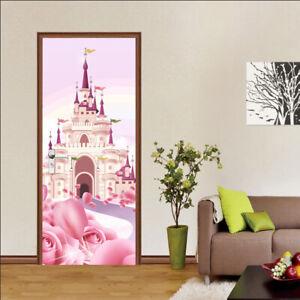 3D Pink Princess Cartoon Castle Self-Adhesive Bedroom Door Murals Wall Sticker