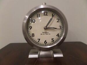 Westclox Vintage BIG BEN Desk Mantle Alarm clock Nickel working condition tested