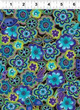 1/2 yard_Clothworks_Laurel Burch_birds_butterflies_quilt fabric_cotton_blue