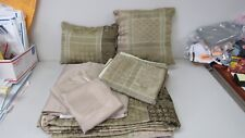 Highgate Manor 8pc Queen Comforter Set Sage Green Taupe Beige Block RN89134 NEW