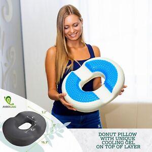 Donut Pillow Tailbone Hemorrhoid Seat Cushion - Cooling Gel Coccyx Pain NO BOX