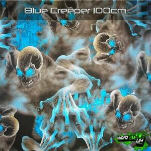 ROLLED - BLUE CREEPER SKULLS Hydrographics Film Hydro Dipping Transfer Graphic