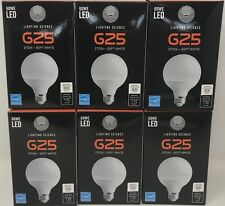 LOT OF 6! 60W EQUIVALENT SOFT WHITE FROSTED G25 GLOBE LED LIGHT BULBS
