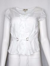 Burberry London Small White Short Sleeve Blouse White Front Tie Cinched Back