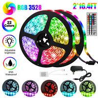 32.8Ft 2*5M RGB Waterproof 600LED Strip Light SMD 44 Key Remote 12V DC Power Kit
