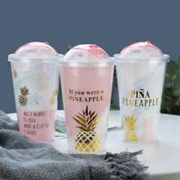Creative Coffee Mugs Bpa Free Plastic Water Bottle Pink Pineapple Pattern S M5O3
