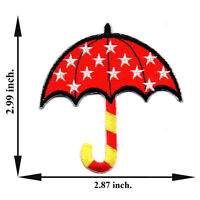 Red Umbrella Star Cartoon V01 Applique Iron on Patch Sew For T-shirt Jeans Cap