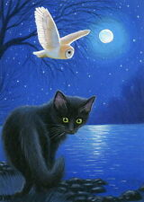 Black cat barn owl lake moon Halloween limited edition aceo print of painting