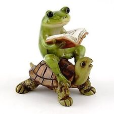 Frog Reading Book on Turtle TO 4396 Miniature Fairy Garden Dollhouse