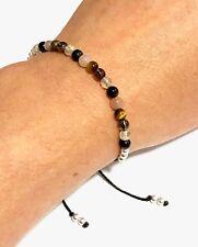 Just Gemstones Positivity Obsidian Citrine Tigers Eye Smoky Quartz Bracelet