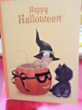 Halloween Greeting Card Mouse, Pumpkin And Kitty By Morehead Unused+env