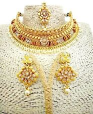 Multi Tone Gold Plate Handcrafted Gold Plated Floral Necklace Earrings Mangtika