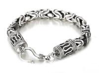 Herren Viking Armbänder für Byzantiner Haken & Schädel Silber 316L Edelstahl