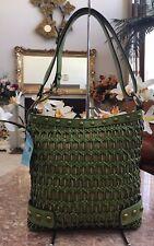 NWT Kathy Van Zeeland Studded Green Woven Leather Convertible Cross-body Bag