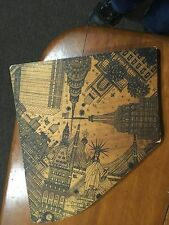 Cool NYC wood burning pyrographic art of cityscape by local artist  not signed