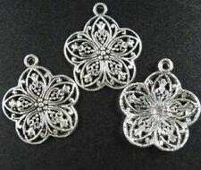 20pcs Tibetan Silver Flower Pendant Charms 30x26x3.5mm 9400