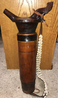 Antique Vintage African Hand Carved Water Vessel Wood Canteen Spout Seashell