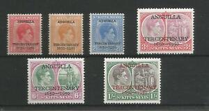 ANGUILLA 1950 TERCENTENARY FINE UNMOUNTED MINT SET OF 6 GEORGE VI ST KITTS OPT.