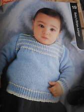 baby knitting pattern newborn -1 year  stripe jumper  5 ply