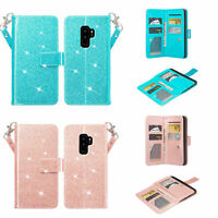 Samsung Galaxy S9 Plus Case, Glitter Bling Magnetic Flip Pu Leather Wallet Cover