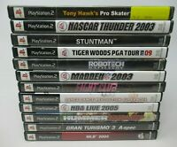 12 GAME LOT FOR PLAYSTATION 2 PS2, DISC, CASE INLAY, BOOKLET, ROBOTECH,DDR,STUNT