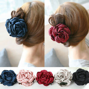 Women Cloth Rose Flower Bow Jaw Clip Barrette Hair Claw Double Sided Flower