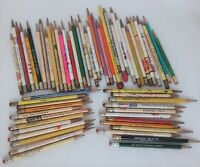 Vintage LOT of 63 Wooden ADVERTISING PENCILS Sharpened ~ Various Ages