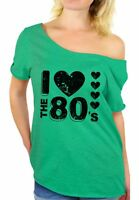 Women's I Love The 80's Off The Shoulder Tops T shirts for 80's Fans 80s Disco