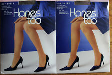 2 Pair of HANES TOO  CONTROL TOP Pantyhose size CD NIP