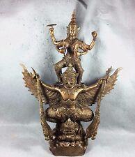 "21"" Big Bucha Statue Phra Vishnu Ride Garuda Thai Buddha Amulet Talisman RARE"