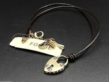 Fossil Heart Lock Necklace Pendant Leather Brass Ox Tone Crystals New! NWT