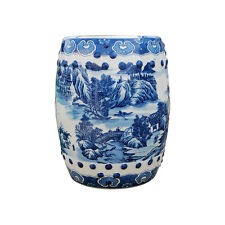 """Chinese Blue and White Blue Willow Hexagonal Garden Stool 18"""""""