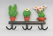 9977340 Cast Iron Figure Hook bar Cactus Colourful Rustic 25x18cm