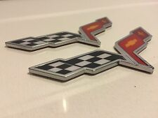X2 PIECES❌ CORVETTE Cross Flags SIGN CHEVROLET car TRUCK EMBLEM logo DECAL *new*