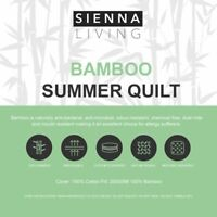 Sienna Living Summer 100% Bamboo Fill Cotton Cover Quilt Duvet Doona All Sizes