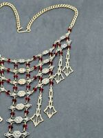 Antique Brass Czech Art Nouveau Red Glass Brass Bib Necklace, 16""