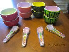 8pcs Ice Cream Sundae Dessert Sherbet Cups Bowls with Spoons Set . fruit design