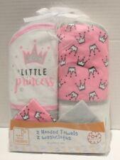 Swiggles Little Princess Baby Girl Hooded Bath Towels & Wash Cloths Set 4pc