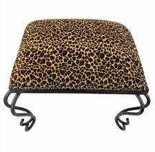 Vintage Cheetah Print Seat Wrought Iron Leg Industrial 70's Style Footstool