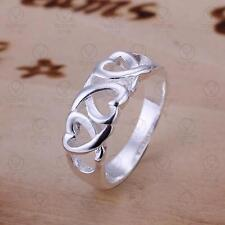 925 STERLING SILVER PLATED THREE HEART DESIGN FINGER RING