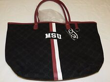MSU Mississippi State Canvas Tote book travel Bag Purse by Sara. NCAA Licensed