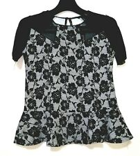 Black Lace print Overlay Top